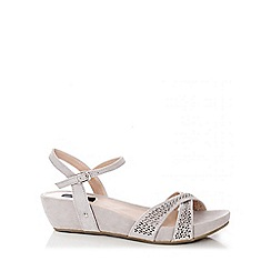 Quiz - Grey Diamante Faux Suede Wedges