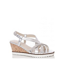 Quiz - Silver Diamante Cross Strap Wedges