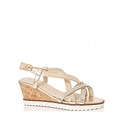 Quiz - Gold Diamante Cross Strap Wedges