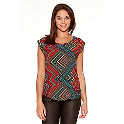 Quiz - Aztec Print Roll Sleeve Top
