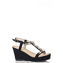 Quiz - Black Jewel T-Bar Faux Suede Wedges