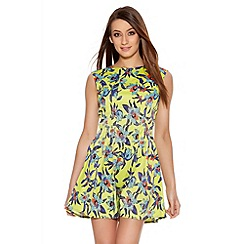 Quiz - Lime And Blue Flower Print Flippy Dress