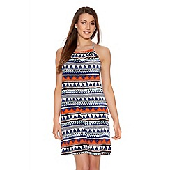 Quiz - Blue And Orange Aztec Swing Dress