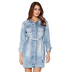 Quiz - Light Blue Denim Belt Shirt Dress