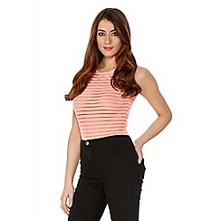 Quiz - Coral Stripe Mesh Sleeveless Bodysuit