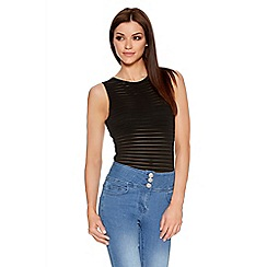 Quiz - Black Stripe Mesh Sleeveless Bodysuit