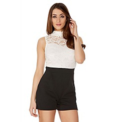 Quiz - Cream And Black Lace Turtle Neck Playsuit