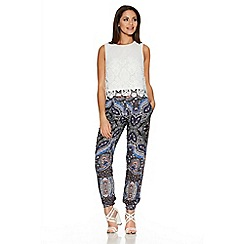 Quiz - Blue And Pink Paisley Print Harem Trousers
