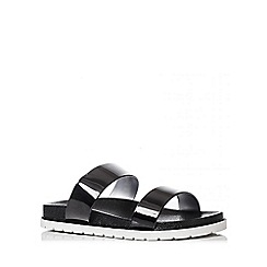 Quiz - Black Strap Flat Sandals