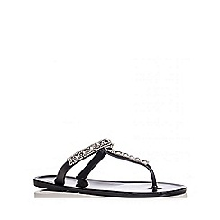 Quiz - Black Diamante T -Bar Flat Jelly Sandals