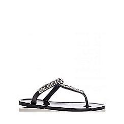 Quiz - Black Diamante T -Bar Flat Jelly Sandals