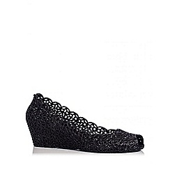 Quiz - Black Glitter Jelly Wedges
