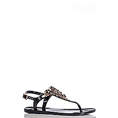 Quiz - Black And Gold Diamante Jelly Flat Sandals