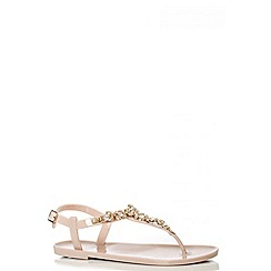 Quiz - Nude And Gold Diamante Jelly Flat Sandals