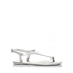 Quiz - Silver Toe Ring Jelly Flat Sandals