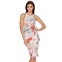 Quiz - Cream Flower Print Double Strap Midi Dress