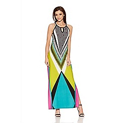 Quiz - Black, Lime and Blue Tribal Print Maxi Dress