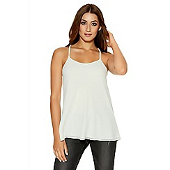 Quiz - Cream Chiffon Strap Swing Top