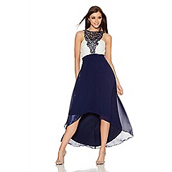 Quiz - Navy And Cream Chiffon Embellished Dip Hem Midi Dress