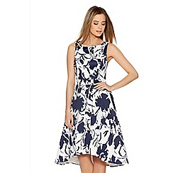 Quiz - White Satin Floral Print Dip Hem Prom Dress