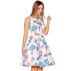 Quiz - White Satin Flower Print Prom Dress