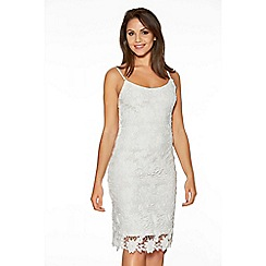 Quiz - White Crochet Lace Strap Midi Dress