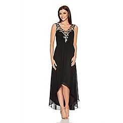 Quiz - Black And Gold V Neck Mesh Chiffon Dip Hem Dress