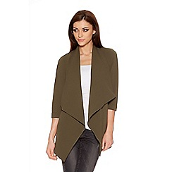 Quiz - Khaki Crepe Split Back Waterfall Jacket