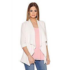 Quiz - Cream Crepe Split Back Waterfall Jacket