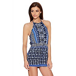 Quiz - Blue Tile Print Halter Neck Playsuit