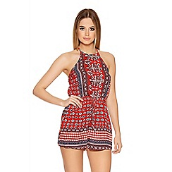 Quiz - Red Tile Print Halter Neck Playsuit