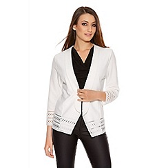 Quiz - Cream Laser Cut Hem Jacket