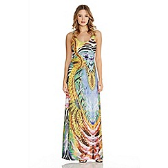 Quiz - Blue And Yellow Tropical Print Maxi Dress