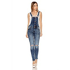 Quiz - Light Denim Skinny Leg Dungaree Jeans