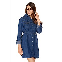 Quiz - Denim 3/4 Sleeve Button Front Shirt Dress