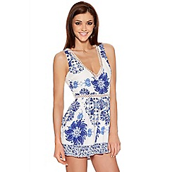 Quiz - White Crochet Trim Floral Print Playsuit