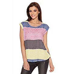 Quiz - Multicoloured Tile Print Roll Sleeve Top