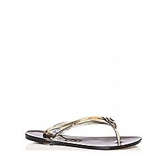 Quiz - Black Flower 2 Strap Jelly Sandals