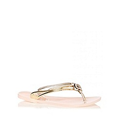 Quiz - Nude Flower 2 Strap Jelly Sandals