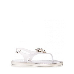 Quiz - Silver Jewel Brooch Flat Sandals