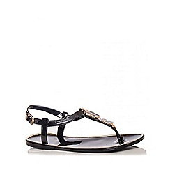 Quiz - Black 2 Flower Jelly Sandals
