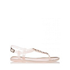 Quiz - Nude 2 Flower Jelly Sandals