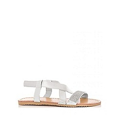 Quiz - Silver Diamante Cross Strap Sandals