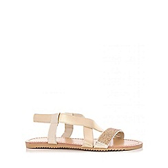 Quiz - Gold Diamante Cross Strap Sandals