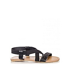 Quiz - Black Diamante Cross Strap Sandals