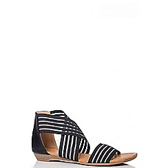 Quiz - Black Stretch Mesh Strap Sandals