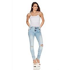 Quiz - Light Blue Denim Stretch Ripped Knee Skinny Jeans