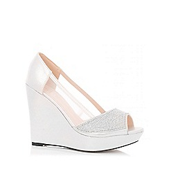 Quiz - Silver Shimmer Diamante Mesh Wedges
