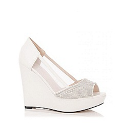 Quiz - White Diamante Mesh Wedges