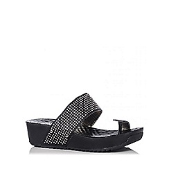 Quiz - Black Toe Strap Diamante Wedges